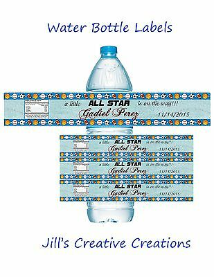 Baby shower water bottle labels, Baby shower favors, Baby shower, Sports Party