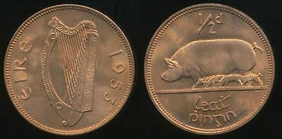 Ireland, Republic, 1953 Halfpenny, 1/2d - Choice Uncirculated