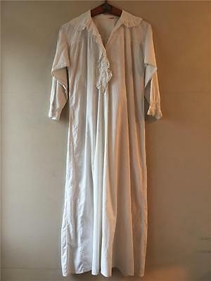 Vintage Antique Victorian White Cotton Lace Nightdress Shirt S- M UK10 12