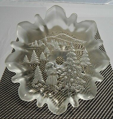 """Used Mikasa """"Christmas Story"""" Clear Frosted Etched Glass Pedestal Candy Dish"""