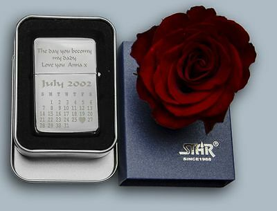 ENGRAVED CALENDAR petrol lighter personalised for FATHERS Birthday WEDDING GIFT