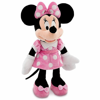 """Disney Authentic Patch Minnie Mouse BIG Pink Plush Toy 19"""" Soft Doll Girls Gift"""