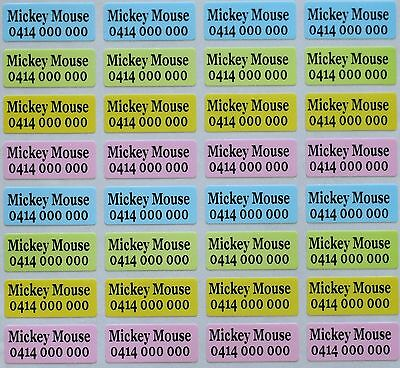 80 x 4 Colour Pearl Personalised Name Stickers Vinyl Tag / Label, 2.2 X 0.9 CM