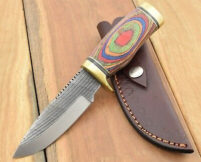 Sawmill Knife high carbon stainless blade Rainbow wood  Bush Craft Skinner SM1