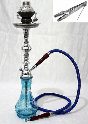"Hookah 22"" Blue 1 hose shisha nargila bar narguile nargile glass water Vase new"