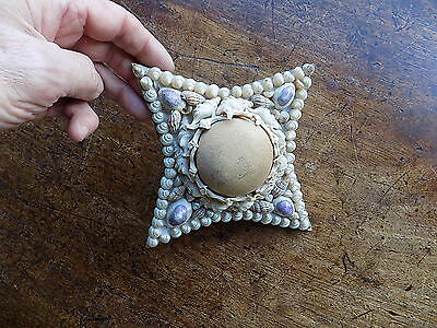 Victorian Antique Shell Pincushion Shellwork Old Vintage Sewing Accessory Sea