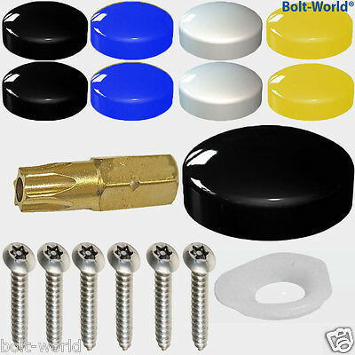 17 x NUMBER PLATE FIXING SECURITY SCREWS COVER KIT BLACK WHITE YELLOW BLUE CAPS
