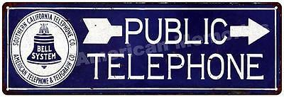 Public Telephone Vintage Reproduction Metal Sign 6x18 6180389