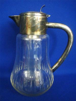 "Vintage German Clear Crystal Silverplate Stein Lid 13"" Water Cooler Pitcher"