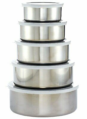 5 x Stainless Steel Mixing Bowl Set with Plastic Lids New Normal Quality Grade B