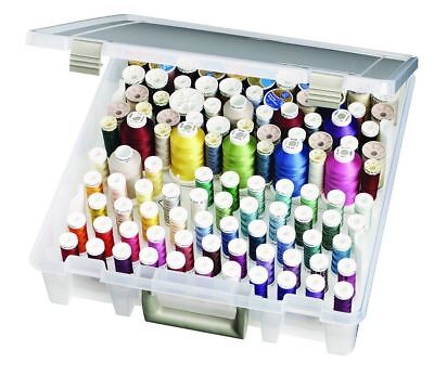 Thread Storage Box with 2 Removable Thread Trays Holder Case - Up to 224 Spools