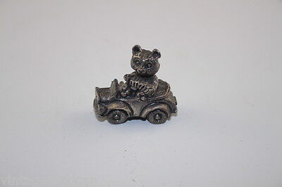 Vintage Solid Pewter Teddy Bear in Car, Stamped Taiwan,  Excellent Cond