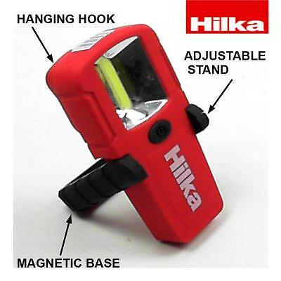 HILKA 3W COB 150 Lumens Mini Inspection Light with stand and hook batteries inc