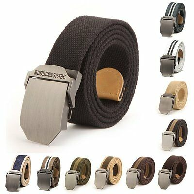 Boy Male Newest Buckle Waistband Handmade Military Canvas Casual Leather Belt