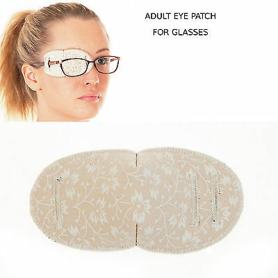 Medical Eye Patch For Glasses, TINY FLOWERS ON PEACH, Soft and Washable