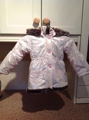 Gorgeous Leveret Pale Pink Faux Fur Lined Girls Coat Age 2 Years Used Good Con