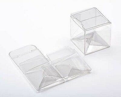 25 Clear Plastic Small CUBE Boxes; 2 Inches Square for Retail and Gifts