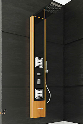 Shower Panel Bamboo with 2 Massage Shower Jets Hand Shower Thermostatic Valve