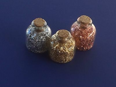 Gold,Silver,Copper Flakes in Glass Cork Bottles(Lot of 3)