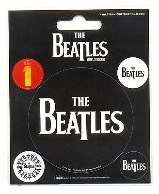 The Beatles Black Logo Vinyl Stickers Official Carded