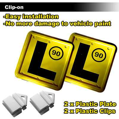 Clip It On L Plate Clips Car Number Licence Plate: 2 (YELLOW-L -90) NSW Only