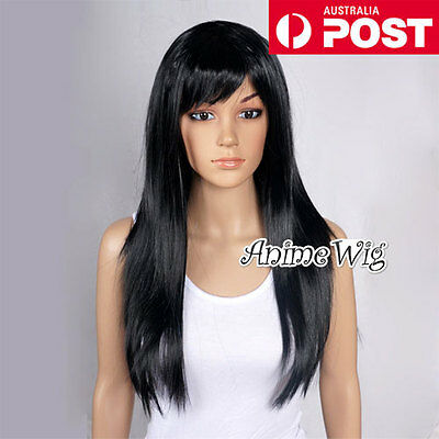 Fashion 60CM Long Black Straight Fancy Dress Costume Cosplay Lady Party Wig