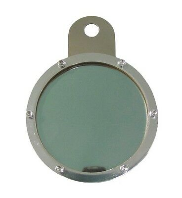 Tax Disc Holder Round 6 Screws,Green Glass,Chrome Backing