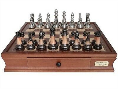"""Dal Rossi Italy Staunton Metal/Marble Finish Chess Set with Drawers 16"""""""