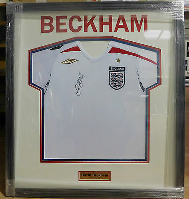 Framed David Beckham Signed England Shirt Rare COA Manchester United Real Madrid