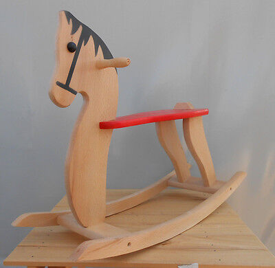 Wooden Rocking Horse Baby Kids Toddler Children's Ride on Toy Wood Riding