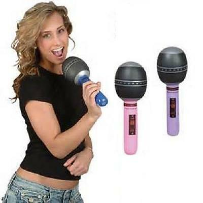 "12 INFLATABLE MICROPHONES 10"" Pink and Purple Rock Prop #BB31 Free Shipping"