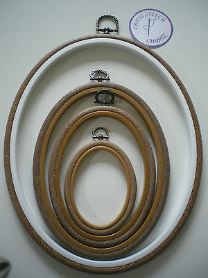 "Set of OVAL WOODGRAIN Effect FLEXI HOOPS Embroidery Frame Mixed Sizes 2.5"" - 10"""