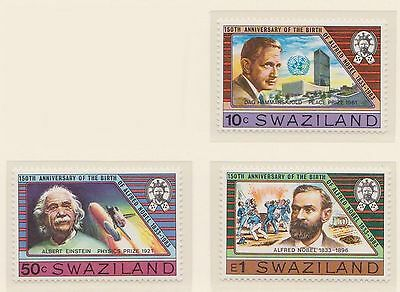 (ZE-49) 1983 Swaziland 3stamps 10c, 50c& 1E Alfred Noble MUH