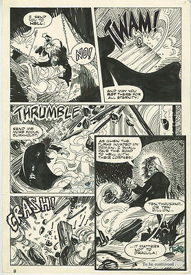 BLOOD OF DRACULA 12 ORIGINAL ART PAGE 1989 Vampire Comic Pencil & Ink ACTION Pag