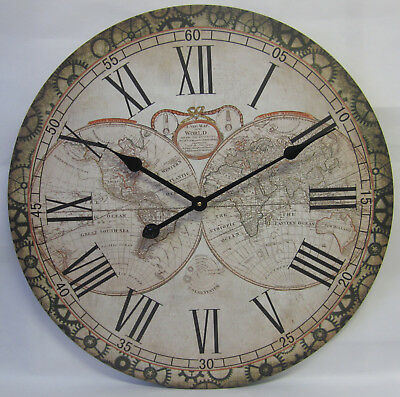 60cm Wall Clock Rustic Provincial Country World Map Large Roman Numerals