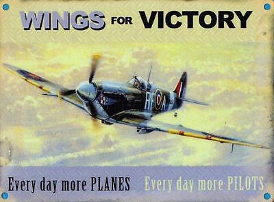 Wings for Victory, Spitfire Plane Pilot RAF War Vintage, Small Metal Tin Sign