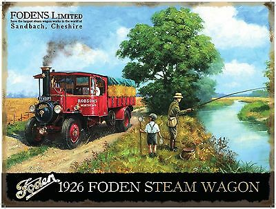 1926 Foden Steam Engine Wagon Classic/Vintage, Fly Fishing, Large Metal Tin Sign