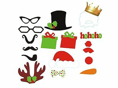 17-58pcs Xmas Photo Booth Props Moustache on A Stick Weddings Christmas Birthday