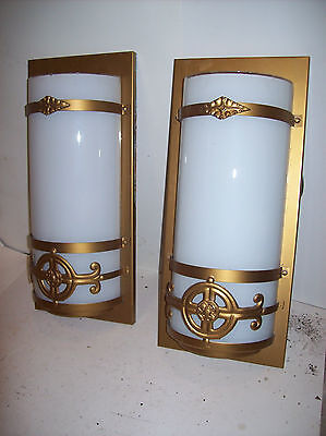 8 avail. Steel Sconces painted brass milk glass shade (L 571)
