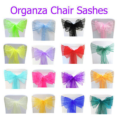 Chair Sash Organza Cover Wedding Seat Bow Party Decorations Prom Table Sashes