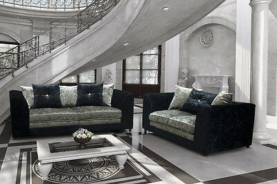 Bella Black + Silver 3+2 Crushed Velvet Fabric Sofa Suite