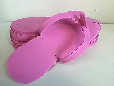 12 PAIRS - Foam Disposable Pedicure  PINK Slippers/ Flip flops. PINK COLORS