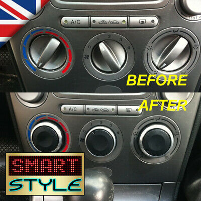 SmartStyle Aluminium BLACK AC/Heater Control Knobs Buttons for Mazda 6 626 etc