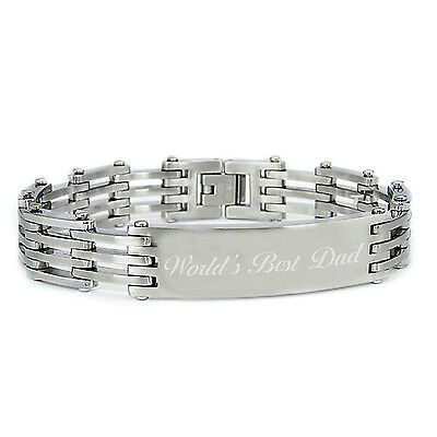 Stainless Steel Father's Day Engraved Message ID Link Bracelet