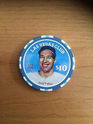 $10 Bob Feller LAS VEGAS CLUB Nevada Obsolete Casino Poker Chip Free Shipping