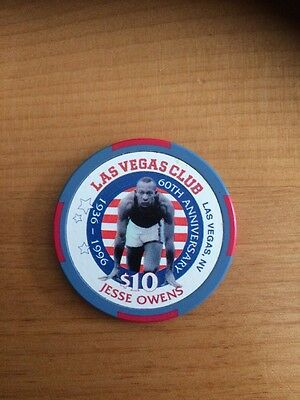$10 Jesse Owens LAS VEGAS CLUB Nevada Obsolete Casino Poker Chip Free Shipping
