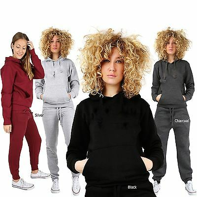 Womens Plain 2 Piece Tracksuit Joggers Hooded Top Casual Trouser String  S-5XL