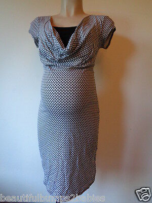 Yessica Maternity & Nursing Cowl Neck Black & White Print Dress All Sizes Bnwt