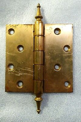 "Vintage Antique HAGER Brass Door Hinge Fancy Finial Tip 4.5"" x  4.5"""
