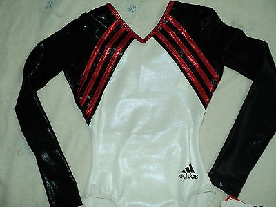 NWT Adidas Long Sleeves White/Black Competition Leotard More Size Great 4 Gift